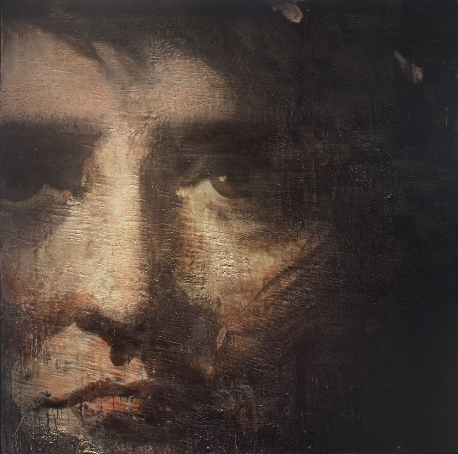 Napoleon , 1998–2011, 84 x 84 in, encaustic, oil pastel on canvas