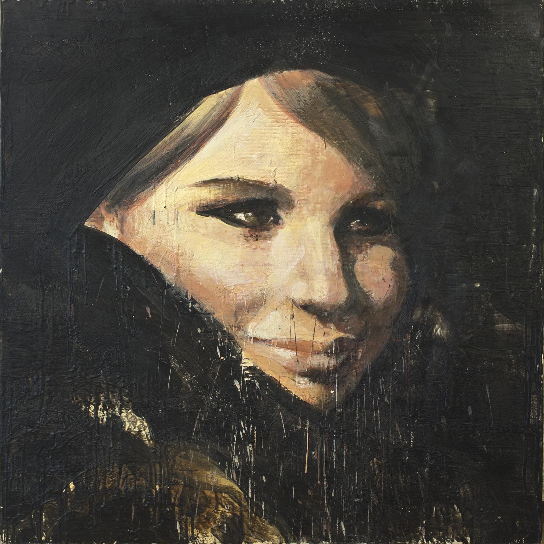 Barbara Streisand , 2010-11, 48 x 48 in, encaustic on canvas