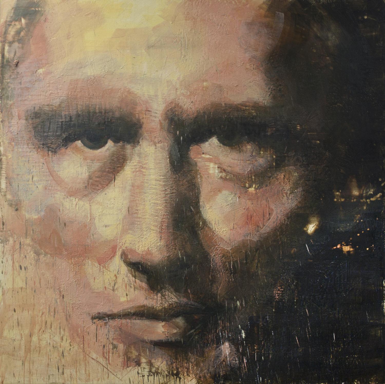 Trudeau , 2010, 84 x 84 in, encaustic, oil pastel on canvas