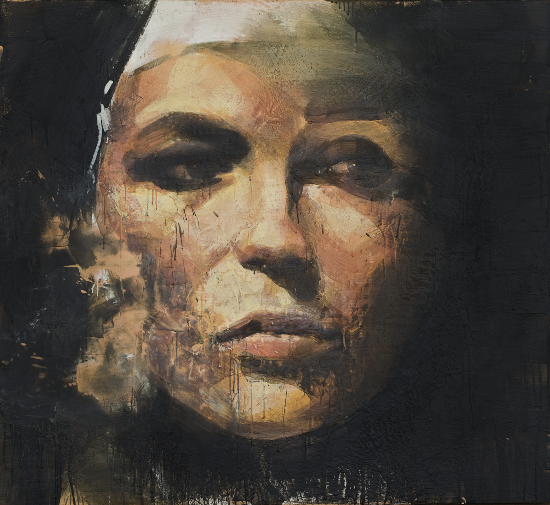 Grey Nun , 2010-11, 54 x 60 in, encaustic, oil pastel on canvas