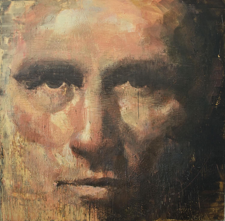 Trudeau , 2010-11, 84 x 84 in, encaustic, oil pastel on canvas