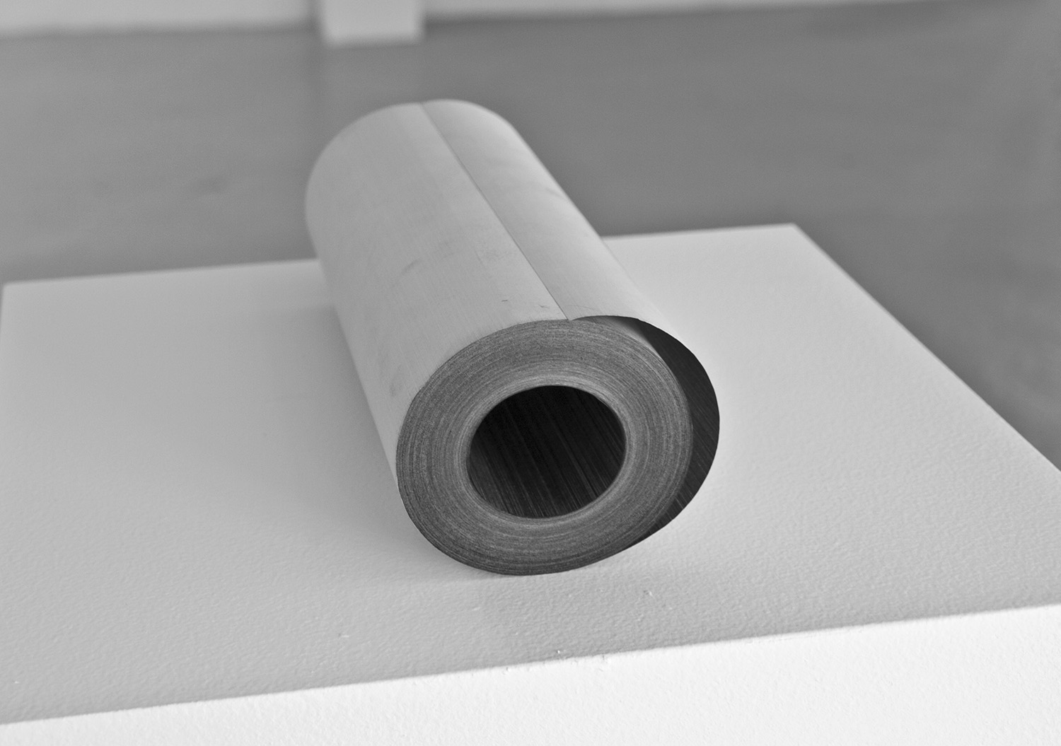 Line by Line II,  2010-11, 3 x 8.5 in; approx. 164 feet, fax paper roll, graphite