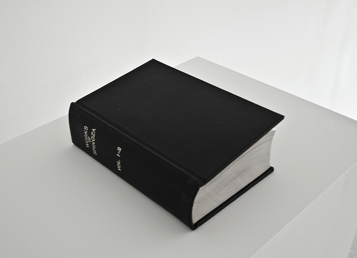 The Rest Is Silence: The Works of Spinoza,  2010-11, 10 x 7.5 in, found book, graphite