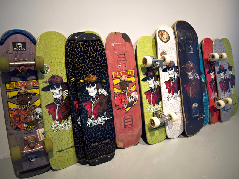 Composite Portrait as Boards , 2010, dimensions variable, new and used freestyle skateboard decks, mounted and un-mounted