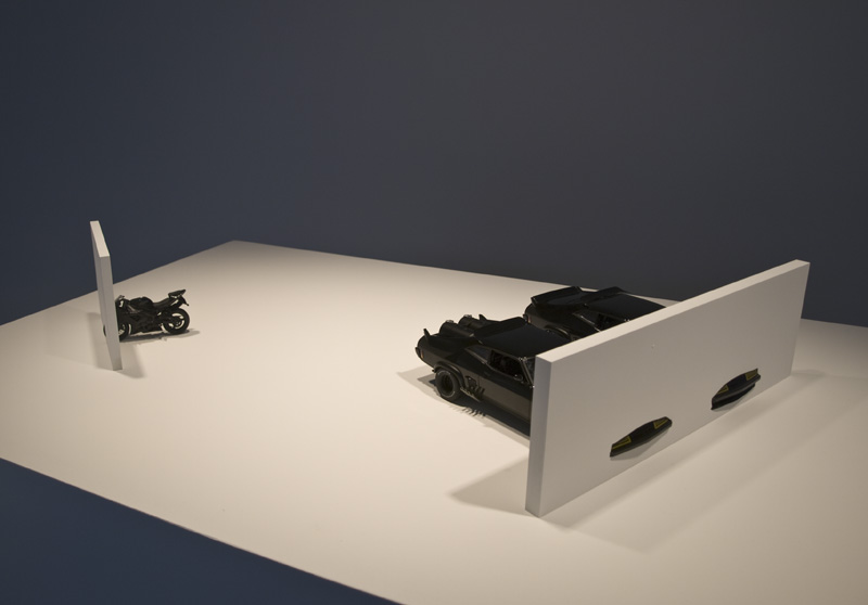 Model for an Interceptor + R6 Intersection , 2010, 1:18 scale models of the 'Mad Max' and 'Mad Max 2' Interceptors and Yamaha R6, motorcycle, intersecting two walls, edition AP