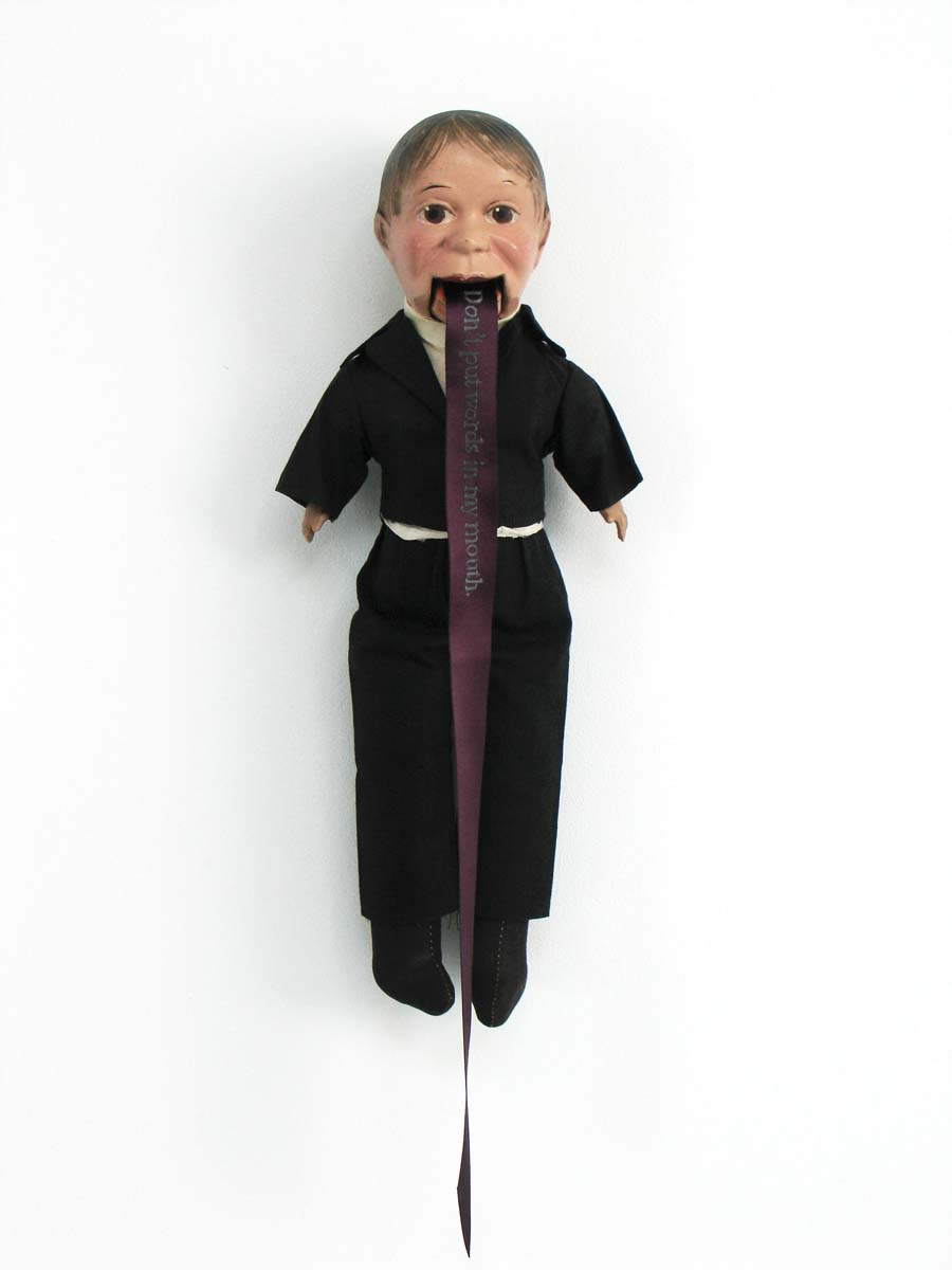Don't put words in my mouth, 2010, 21 x 7 inches, vintage amateur ventriloquist dummy circa 1930-1950
