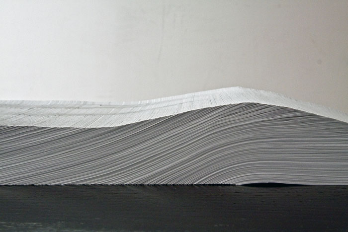 Frankenstein; or, the Modern Prometheus (detail), 2009, approx. 7 feet, paper installation