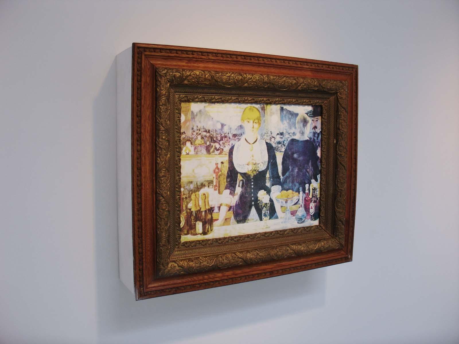 A Bar… , 2009-10, 27.5 x 31.25 x 8.5 inches, screen-print on masonite, found frame, plywood, glass, whiskey