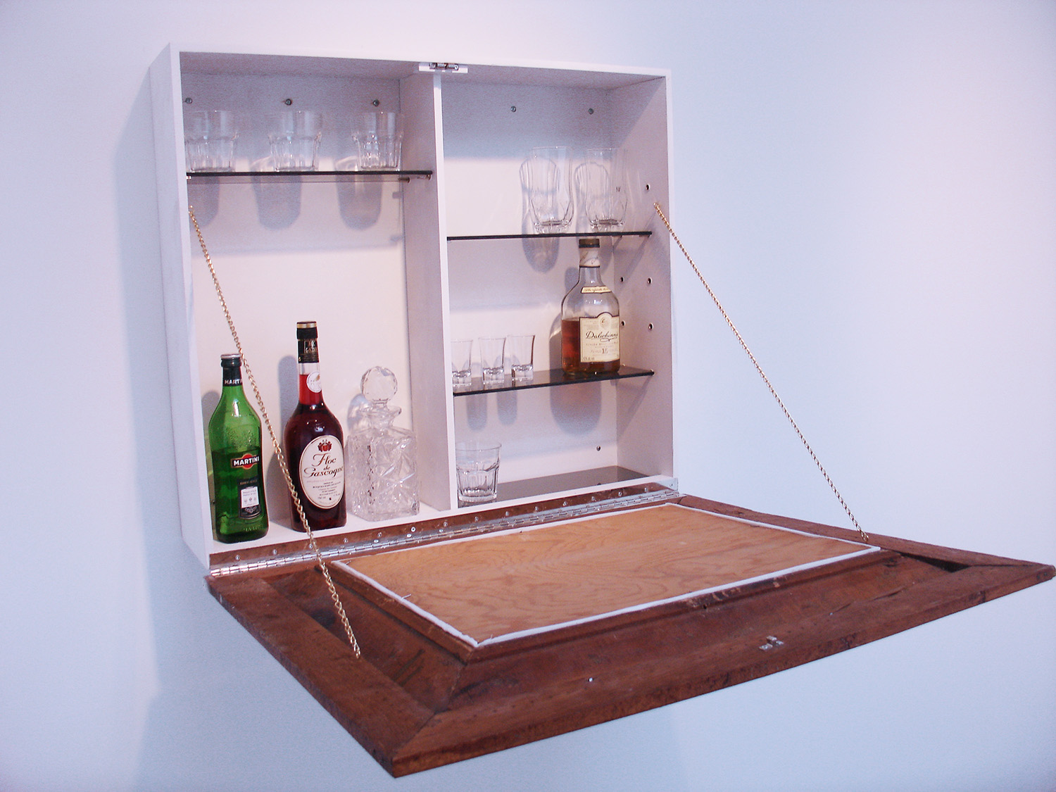 A Bar… (opened) , 2009-10, 27.5 x 31.25 x 8.5 inches, screen-print on masonite, found frame, plywood, glass, whiskey