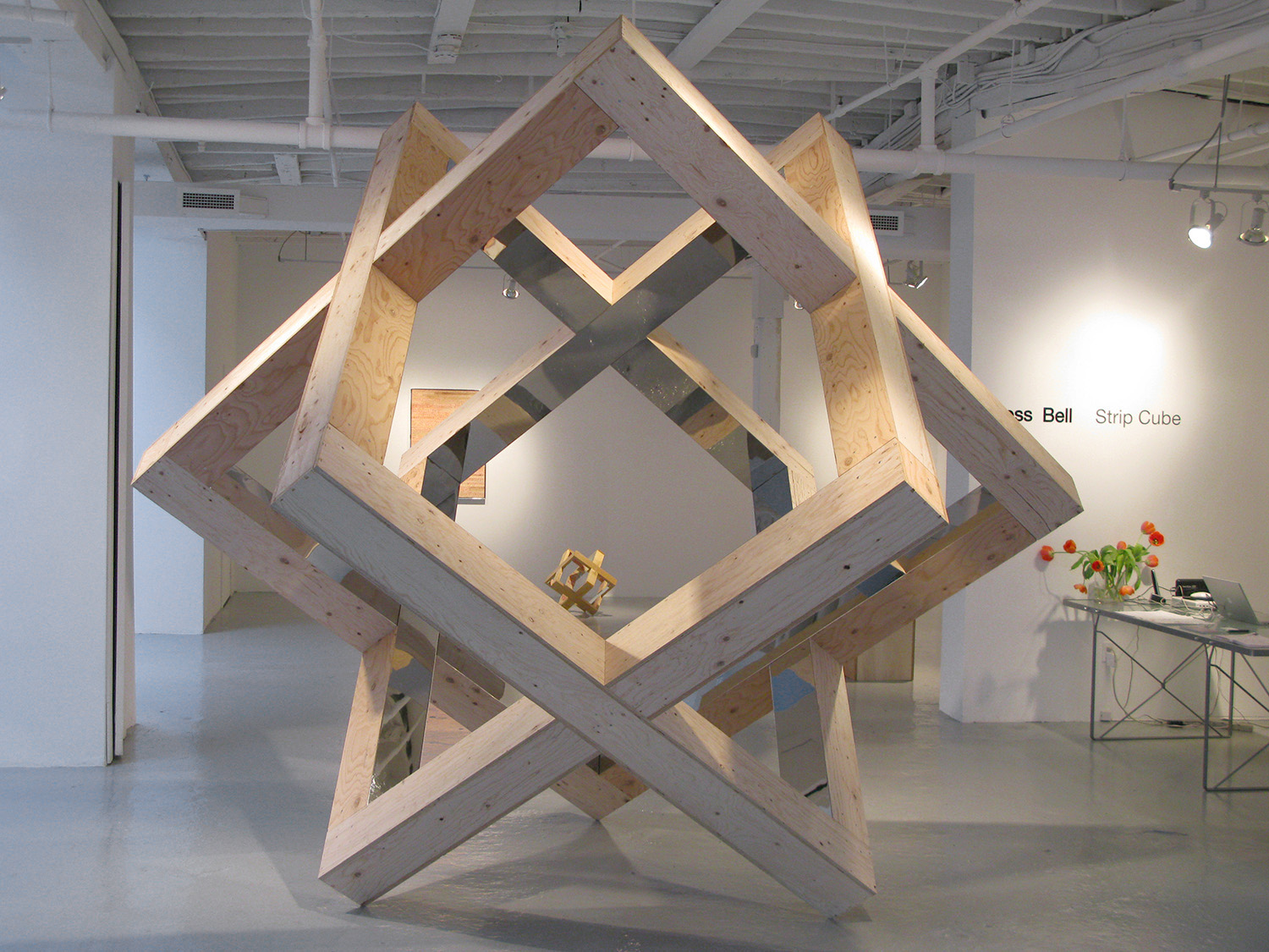 Strip Cube (Plywood), 2009, plywood, mirrored stainless steel, 8 x 8 x 8 feet