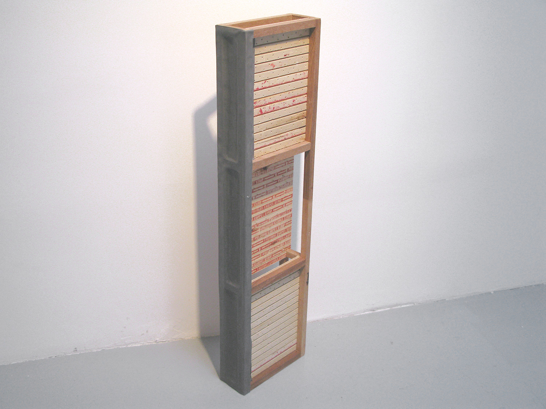 I See, 2008, mahogany, carpet strip, lead sheet, 40.75 x 10.75 inches