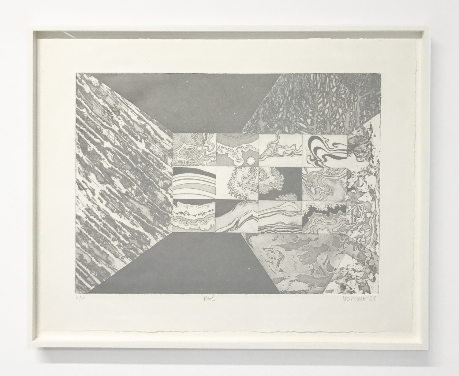 Margaret Priest,  Pool , 1968, paper: 17.75 x 22.5 inches, etching, silver ink, AP