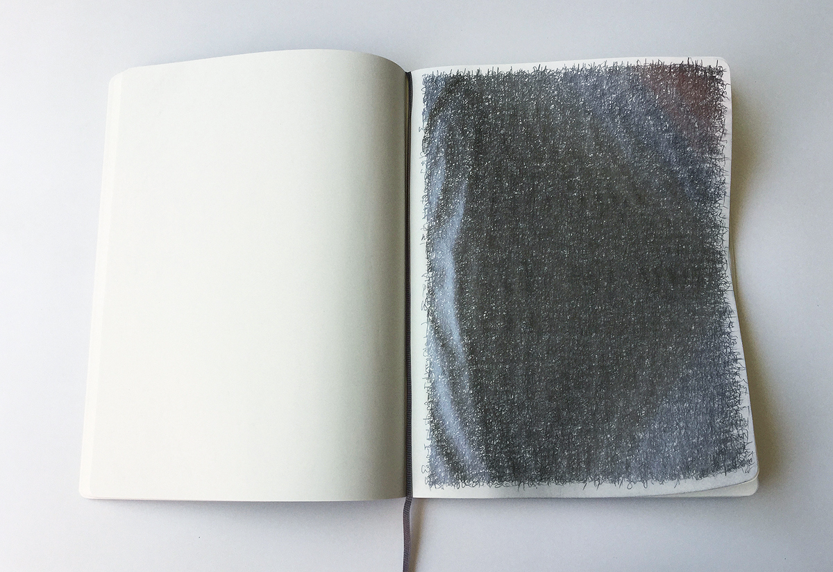Hyang Cho,  Journal , 2016, 10 x 15 inches, graphite, notebook