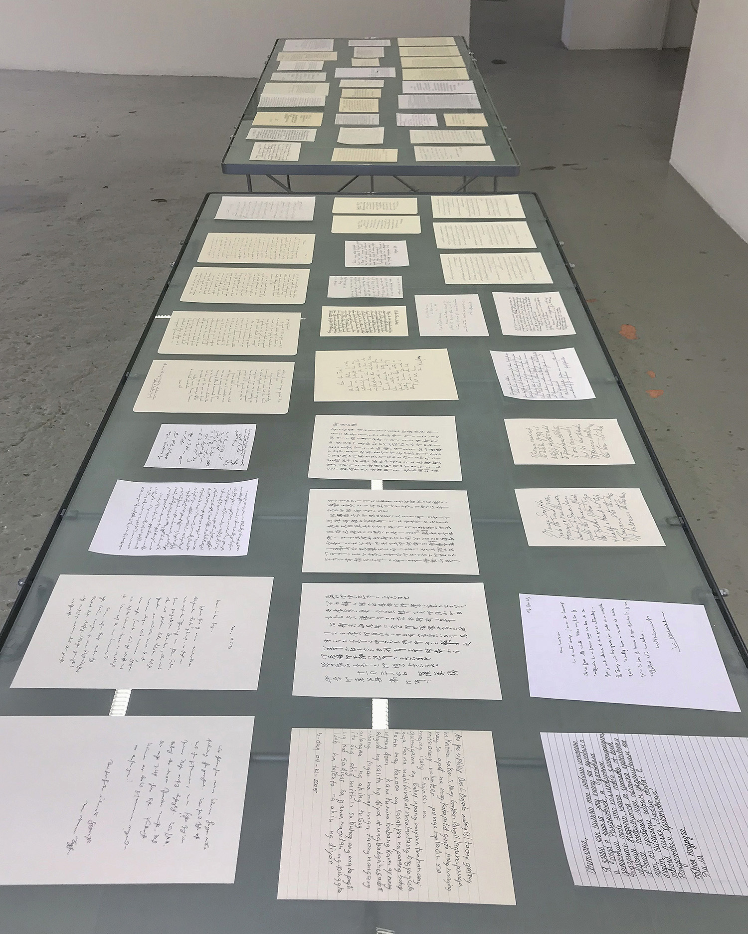 Hyang Cho,  Letters , 2018, sizes vary, graphite, found paper