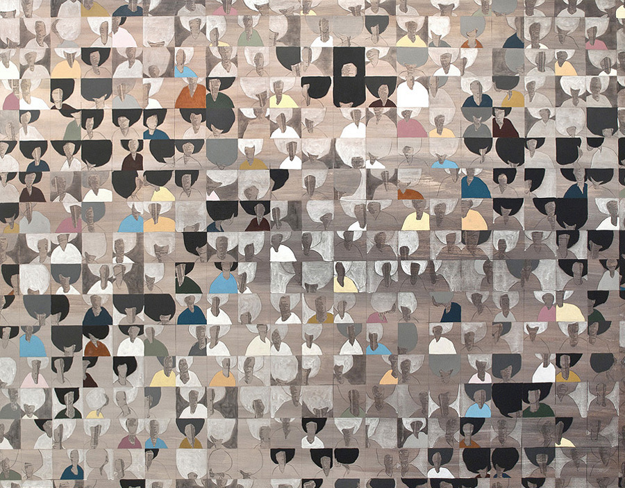 Untitled (Smiths) , 2011-12, 60 x 48 inches mixed media on wood