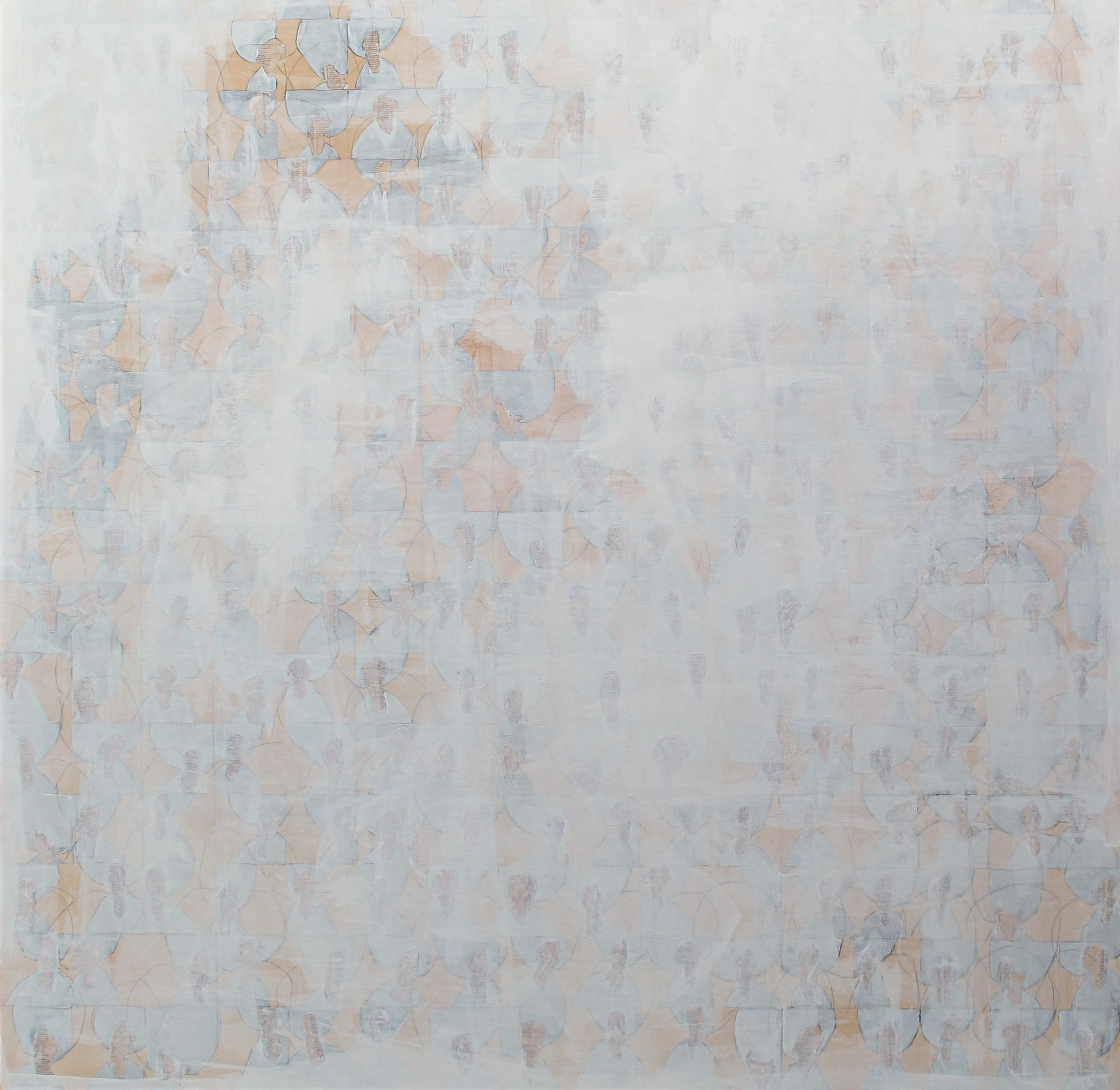 Untitled (Whiteout) , 2014-15, 48 x 48 inches, mixed media on wood