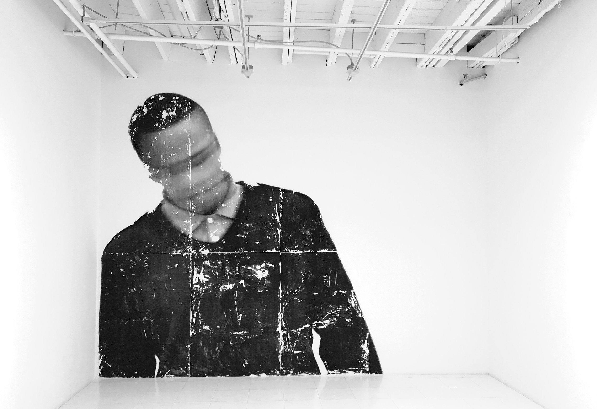 Blur 8 , 2017, mural, photo-based gel transfer media, paper, installation at Georgia Scherman Projects