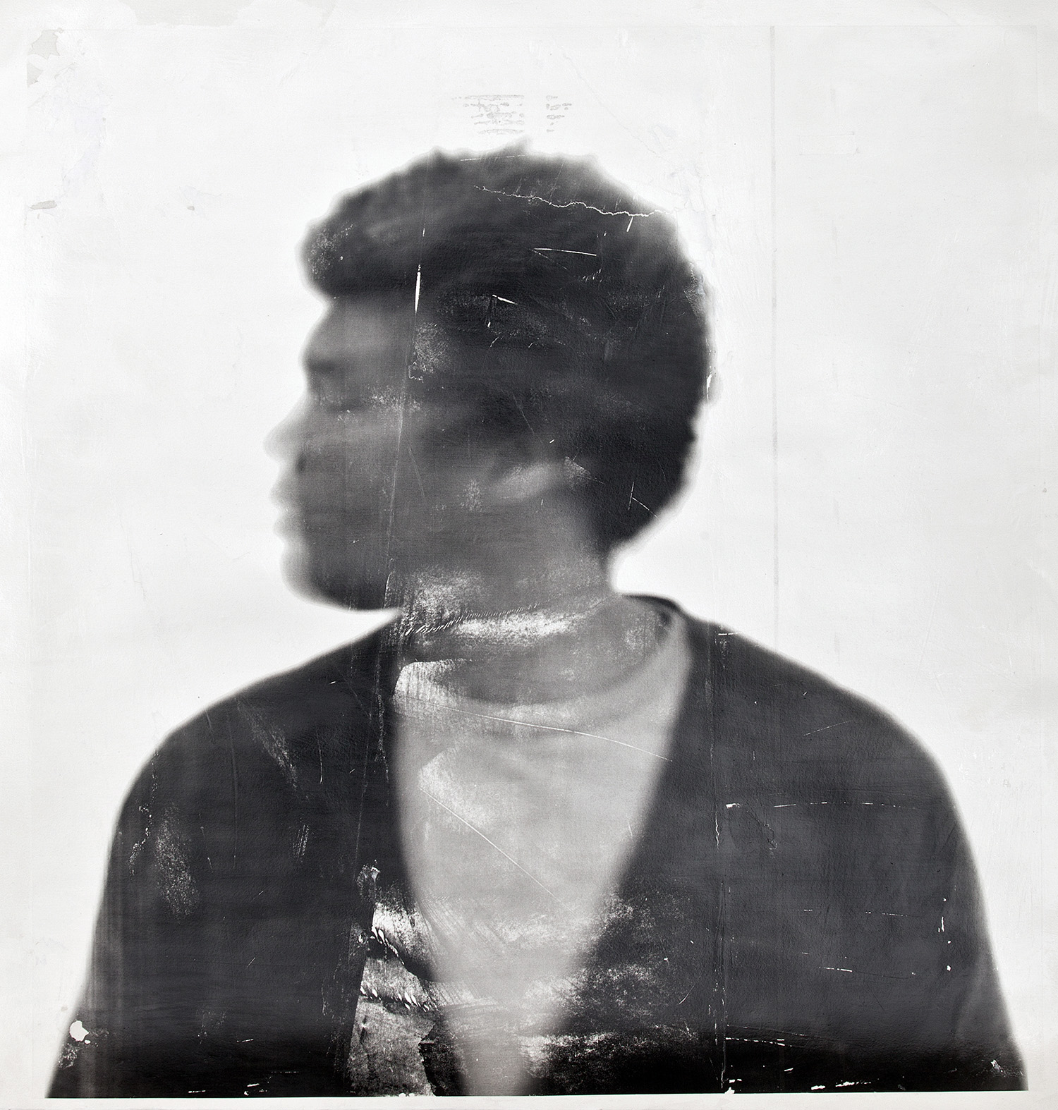 Blur 19 , 2017, paper 40 x 38 inches, photo-based gel medium transfer on archival paper, unique