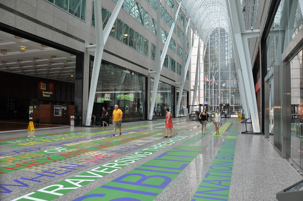 aMAZEd , 2012, 1445 m2 - 15550 sq.ft, text installation, Brookfield Place, Santiago Calatrava, architect (installation view)