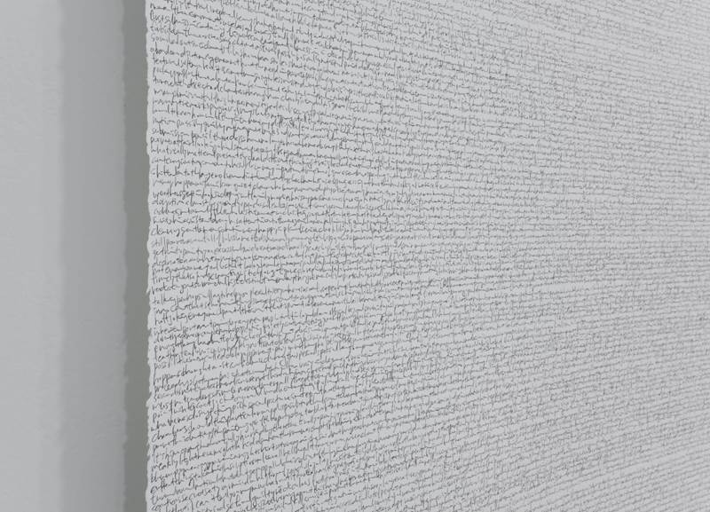 Trial II , 2012, 50.5 x 468 inches, graphite pencil on Stonehenge paper roll (detail)