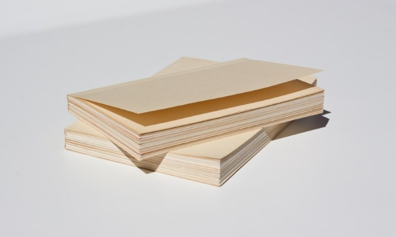 (text) Blank Book , 2015, 8 x 5.5 inches, collected paper, glue