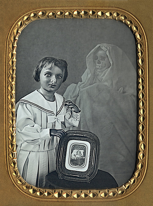 Visitation of the Mannequin , 2003, In collaboration with Mike Robinson, 5 x 4 inches, daguerreotype in gold frame