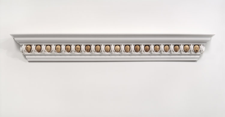 Sacrificial Ornament, Ovo and Claw Entablature , 1990, 60 x 12 inches, turkey eggs, chicken claws, plaster