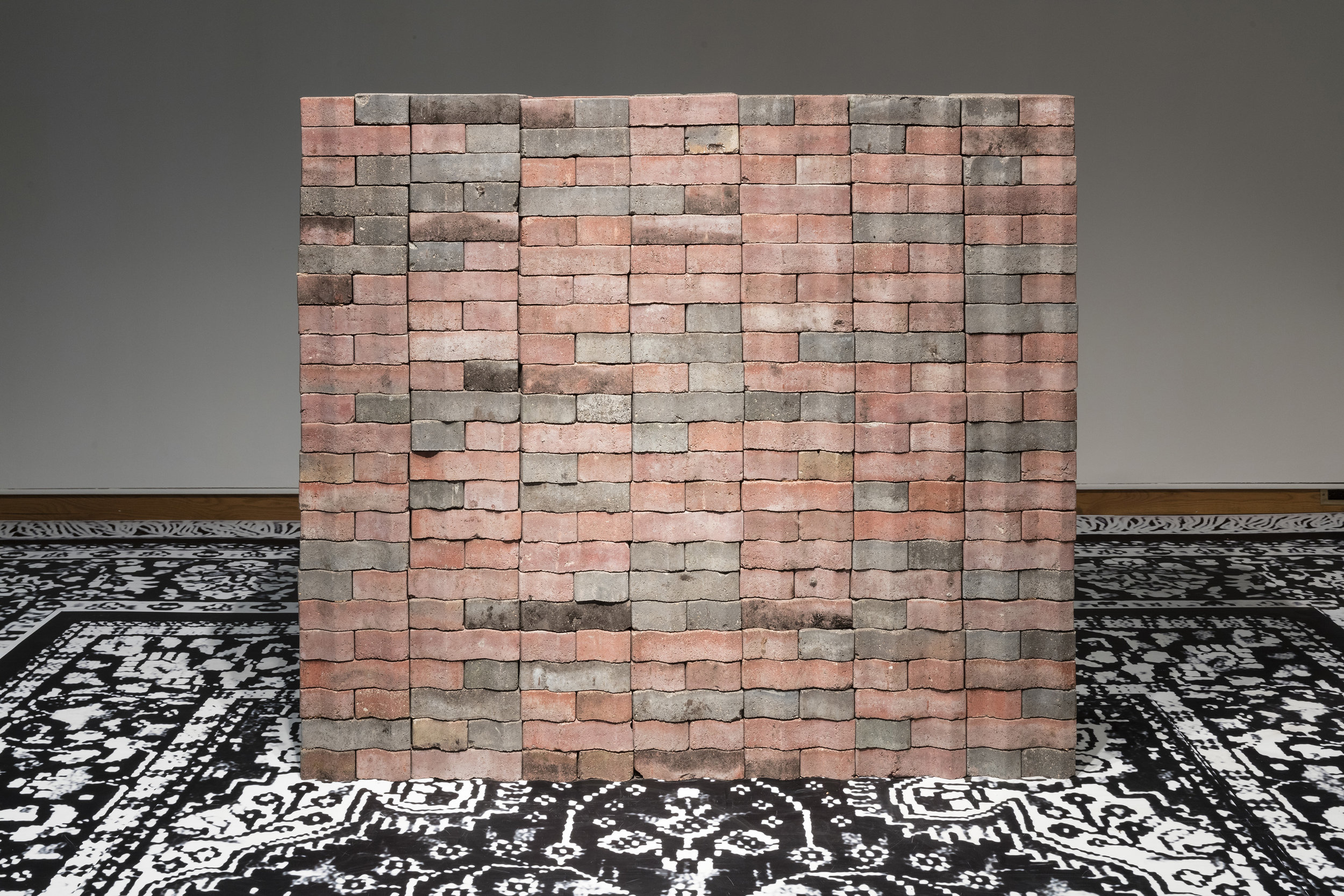 My Father's Raj, Mother India and what We lost as You gained (the albatross around your neck) , 2017, clay and shale bricks recovered from India Gardens restaurant before demolition, installation view at the Art Museum at the University of Toronto as part of the 2017 Sobey Art Award exhibition