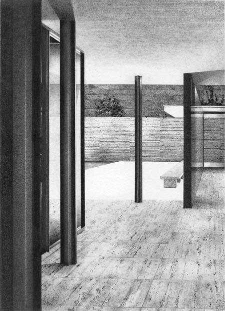 Barcelona Pavilion II (detail),  2009, Image Size: 9 x 6 1/2 inches, Paper Size: 30 x 22 inches, graphite on handmade paper