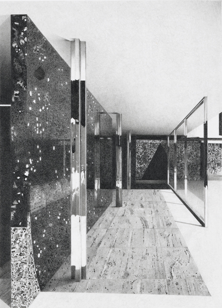 Barcelona Pavilion V (detail),  2011, Image Size: 9 x 6 1/2 inches, Paper Size: 30 x 22 inches, graphite on handmade paper
