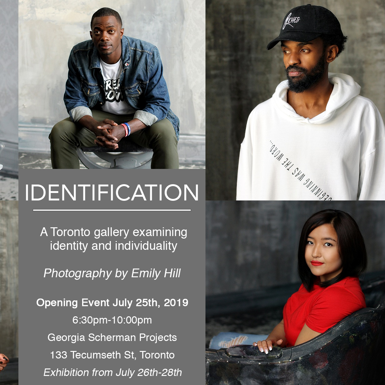 IDENTIFICATION   Co-presentation between the  Film Stars Project  and the  Forgiveness Project,  photography by  Emily Hill   July 26 - July 28, 2019