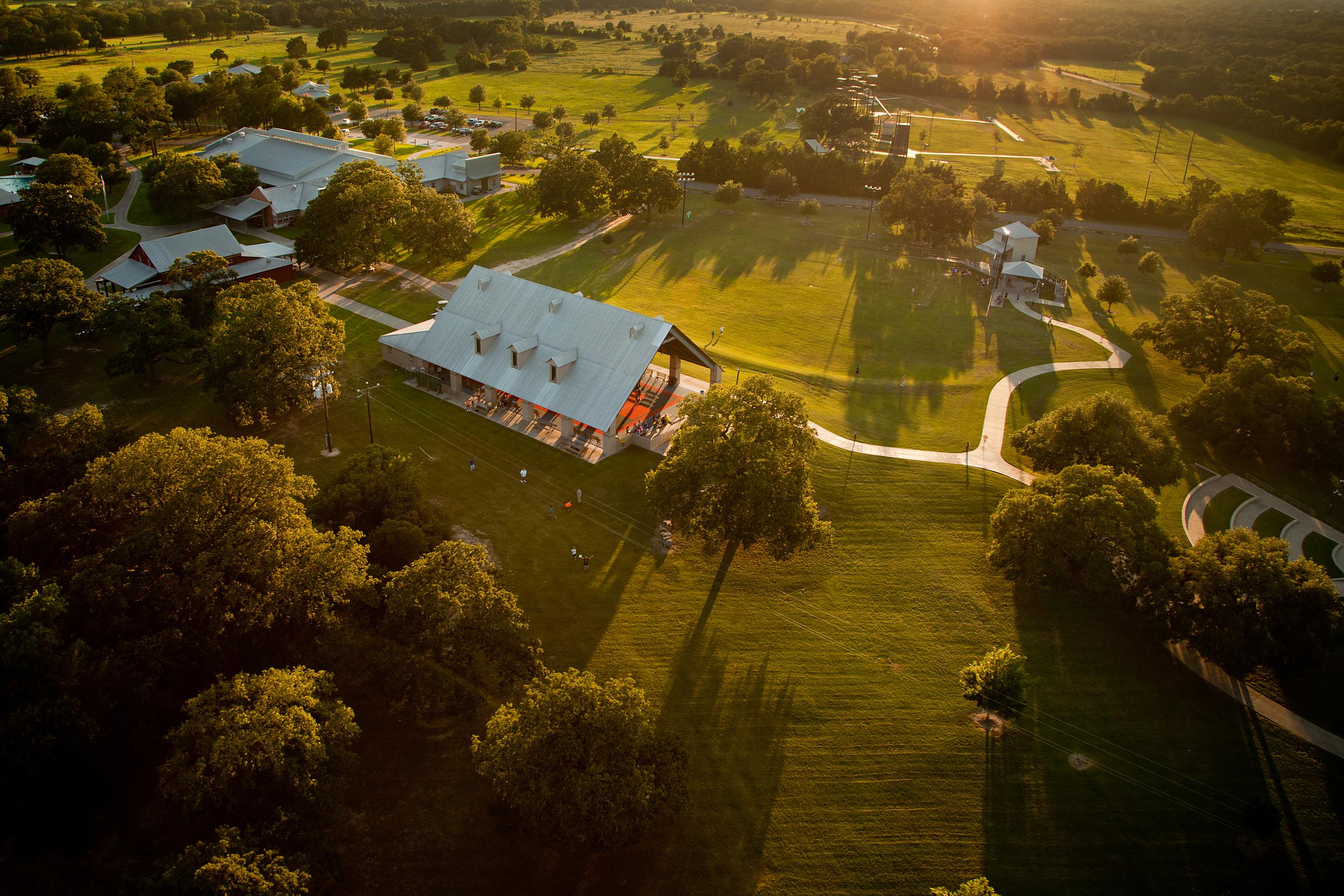 Aerial - Camp For All Pavilion, Main Lodge, Art Barn