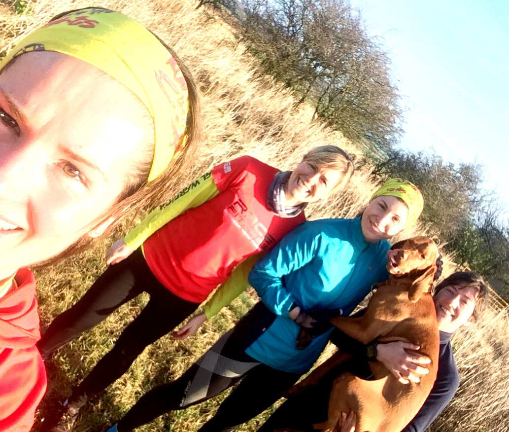 The post race runners, Me, Sam, Chiara, Princess Jasper and Cath