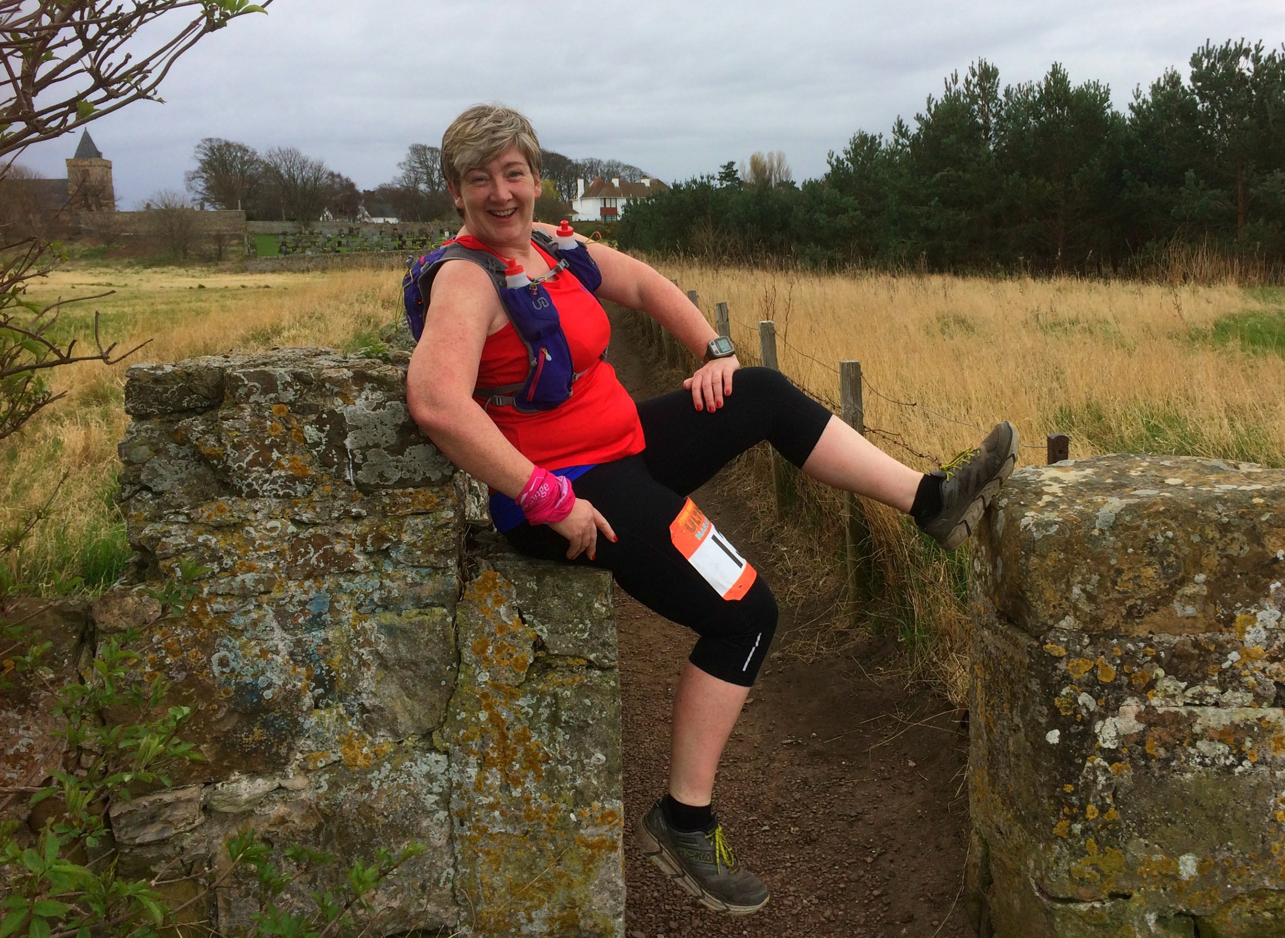 Gail Grant putting her feet up, Aberlady