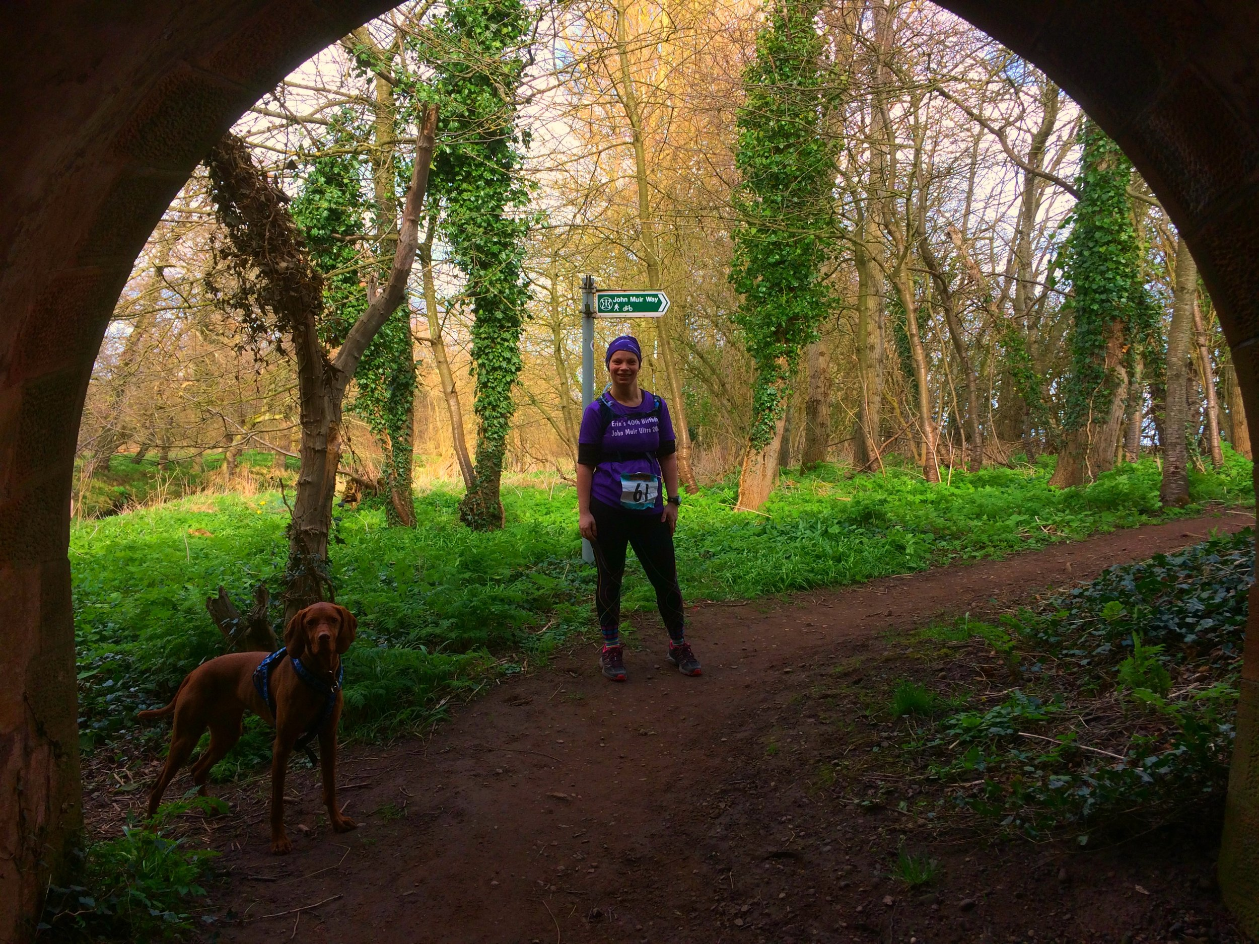 Erin and Princess Jasper through the tunnel near to Tyninghame village