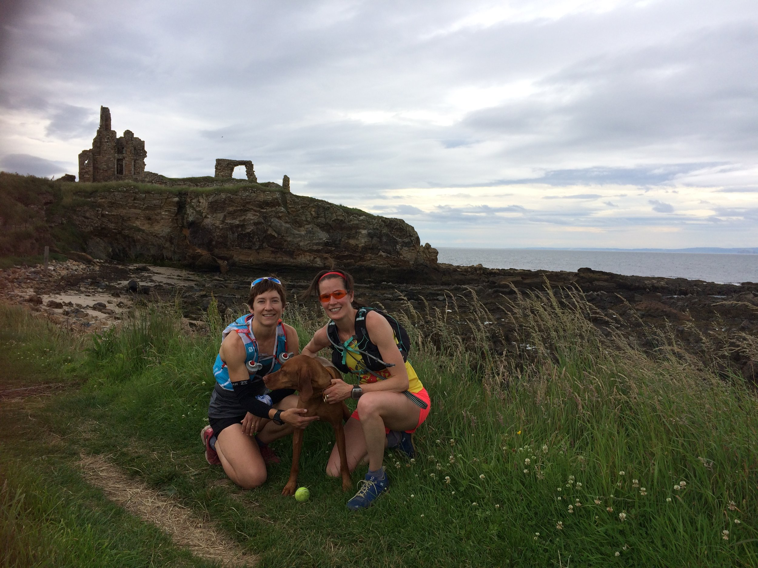 The running trio, with Newark Castle in the background