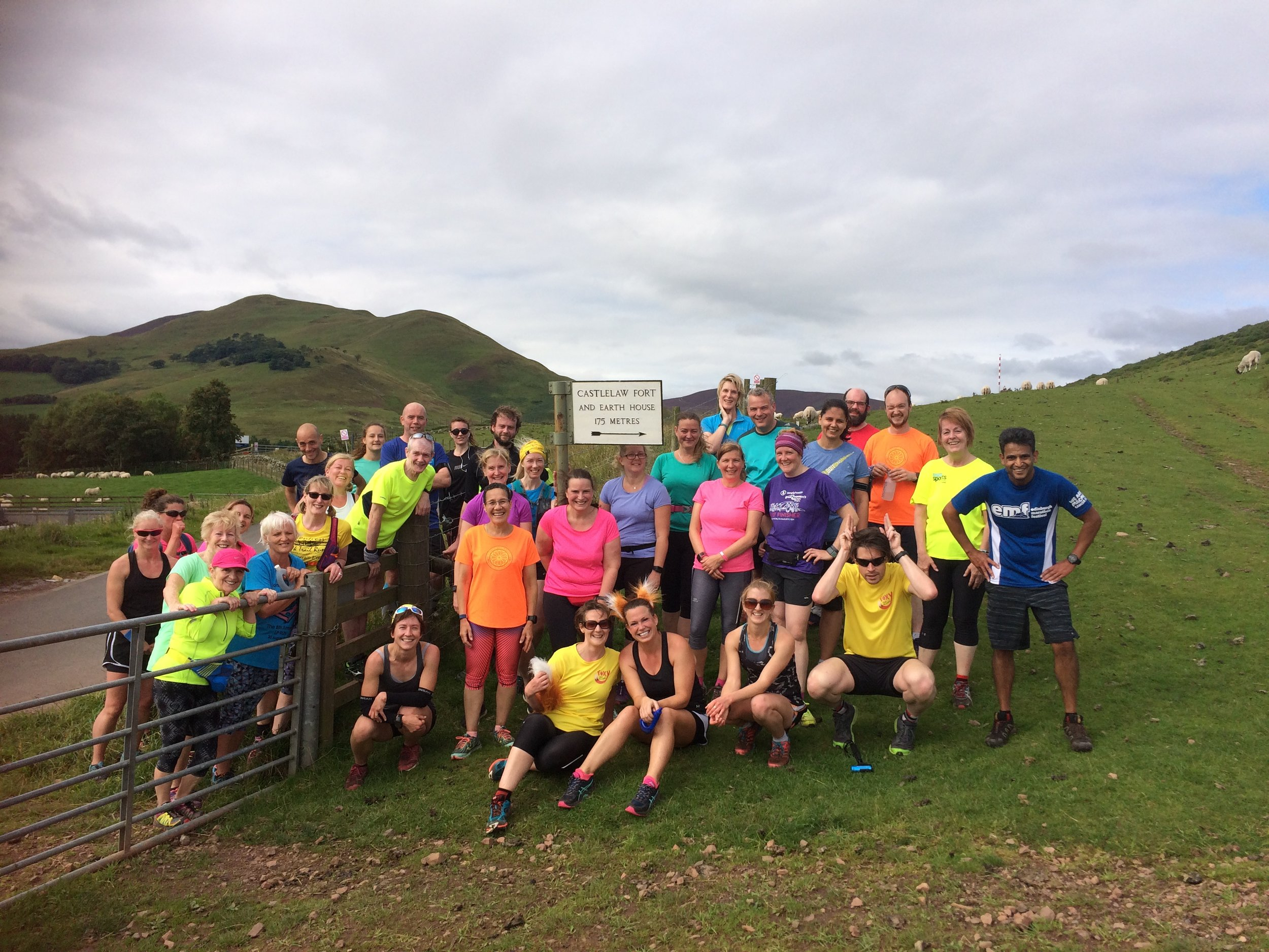The Foxy Trail Runners crew on a run in the Pentland Hills - everybody welcome