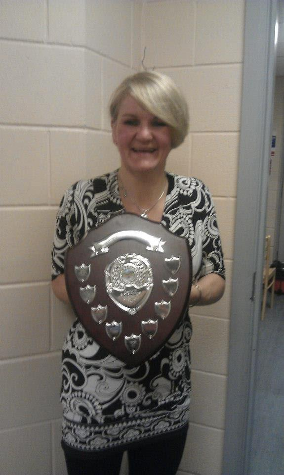 Tracy with the Oliver Ward shield from SANDS Lothians for her individual fundraising efforts in the 2012 Edinburgh Marathon