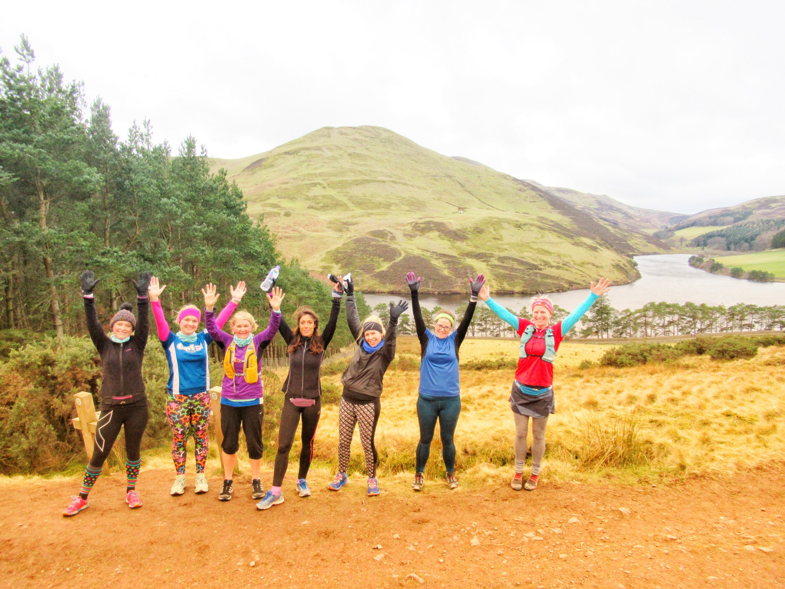Tracy, Gemma and Angela on the Pentland Taster Running Tour, along with other Run the Sighters Elise, Roisin, Laura and Gina