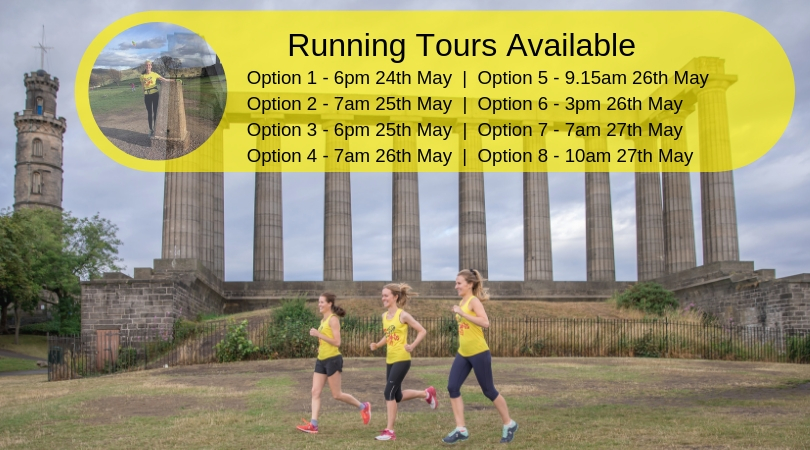Join us on a running tour using the code 'SANDS' at checkout and automatically donate money to SANDS Lothians