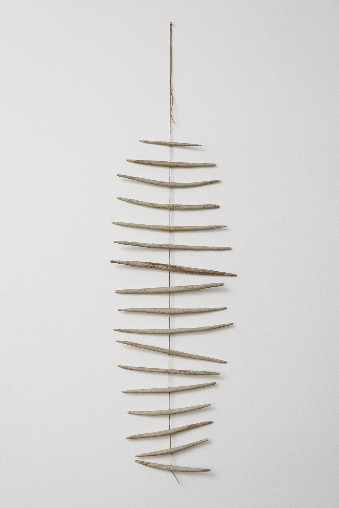 """Stoneware and linen 24"""" length 9 1/2"""" width"""