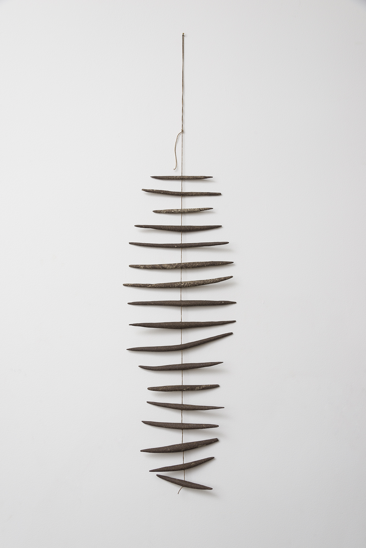 """Stoneware and linen 27"""" length 9 3/4"""" width"""