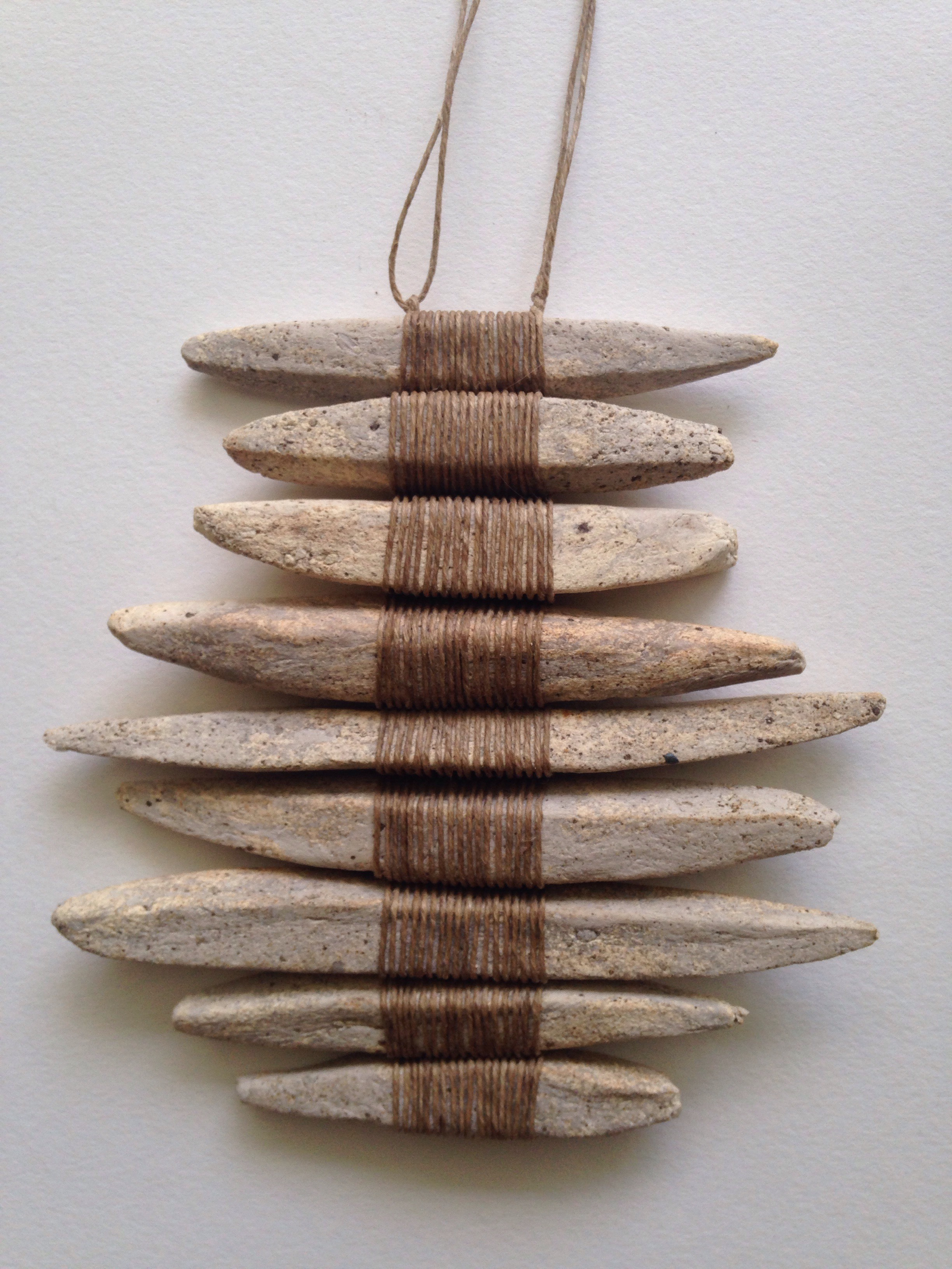 """Stoneware and linen 7 1/2"""" length 7 1/2"""" width"""