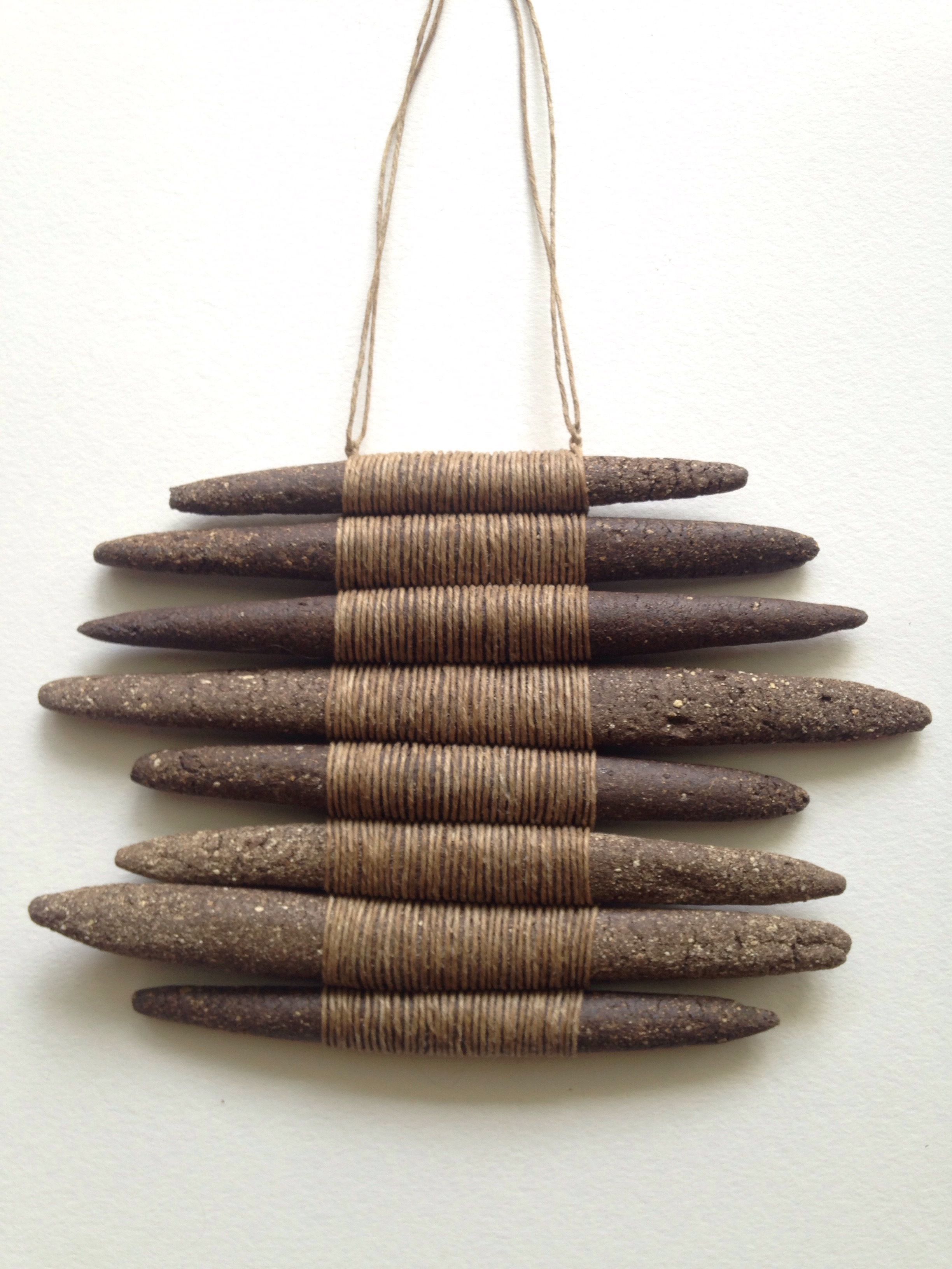 """Stoneware and linen 6 1/4"""" length 9 1/4"""" width"""