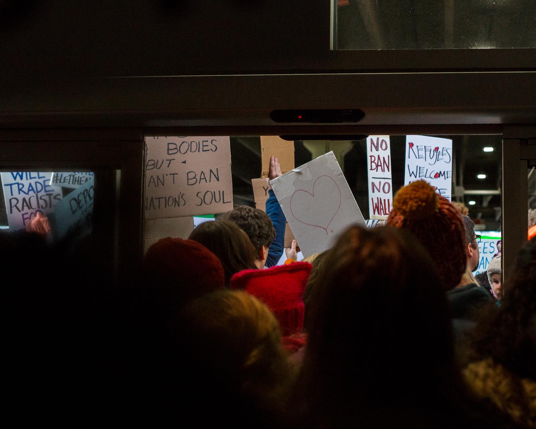Protesting the Muslim ban at PHL, 1/29/17