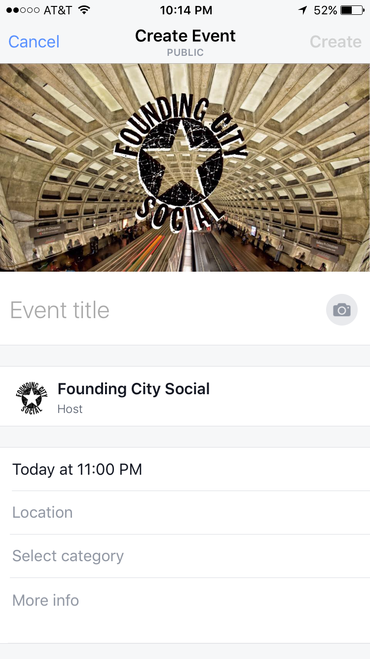 Creating an event is easy and can be done right from the Facebook mobile app.