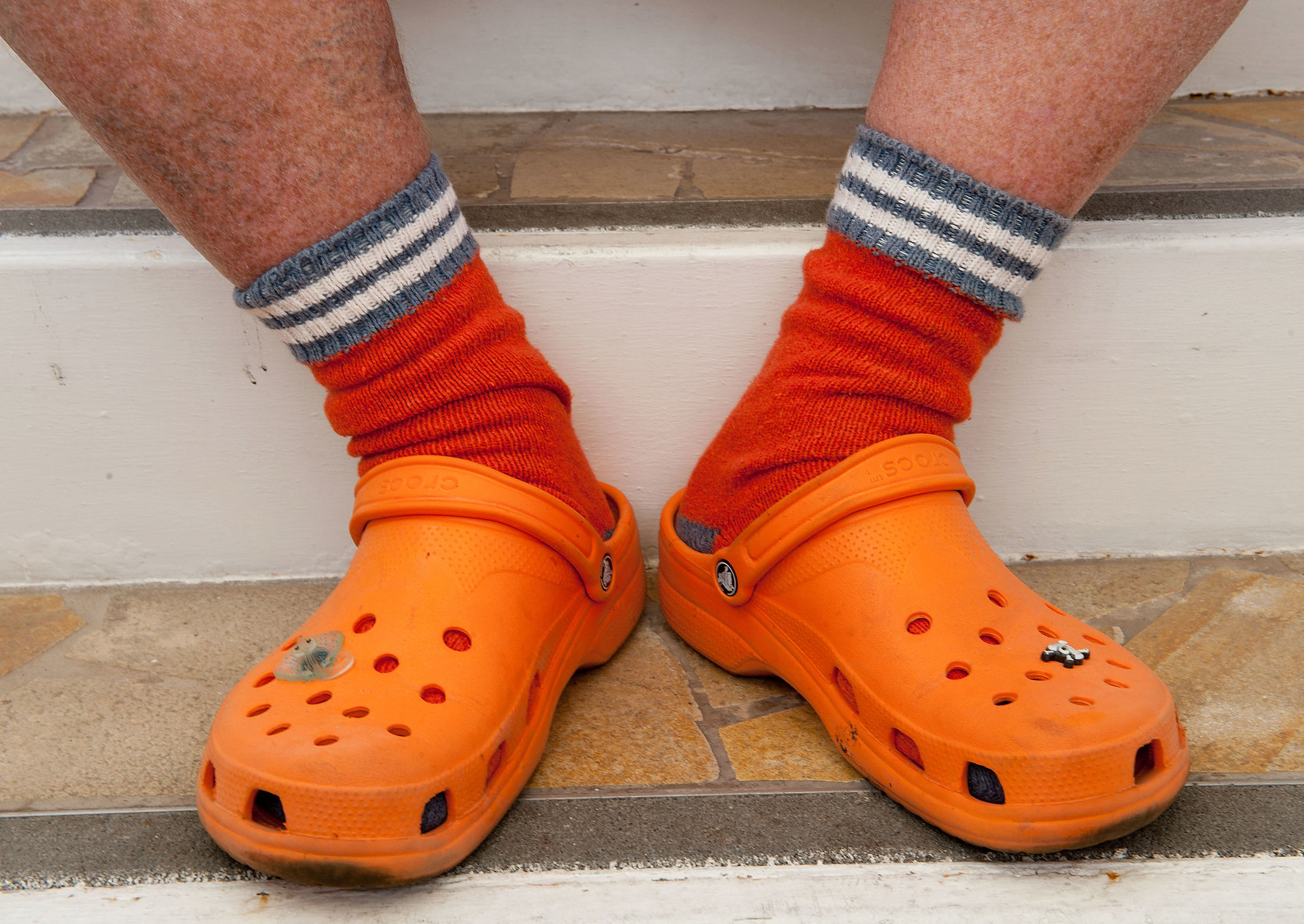 The socks came complimentary with the Crocs. Pretty hip, right?!