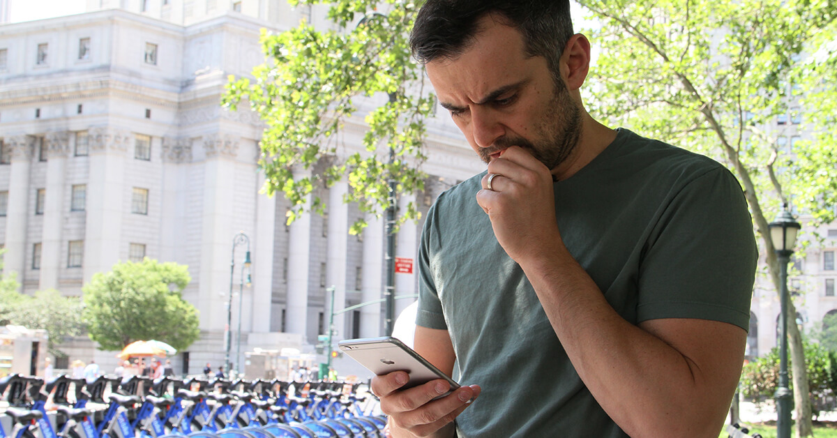 Gary Vaynerchuck  probably responding to a tweet or Facebook comment. He is a preacher of the engagement philosophy.