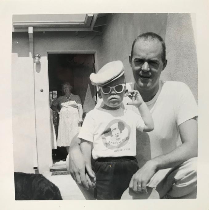 Rob in Mickey Mouse T-shirt, Dad, Grandma_adj01-sm.jpg