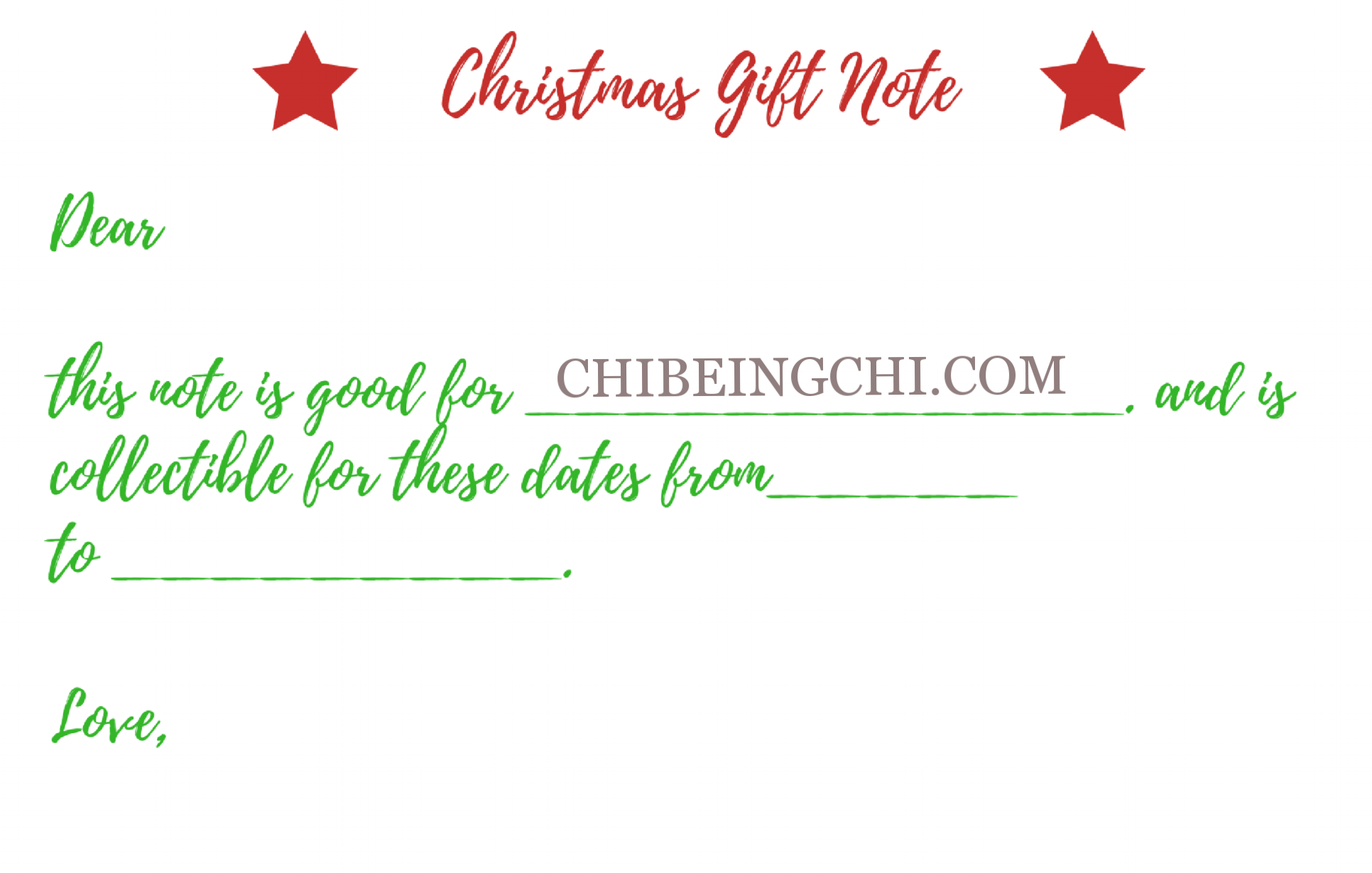 Christmas gift Note